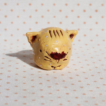 OOAK cat figurine small animal rustic totem primitive yellow white brown kitten kitty
