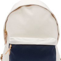 Ivory & Navy Canvas Day Pack Backpack