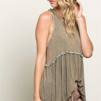 POL Clothing Babydoll Tank Top for Women in Olive YE14