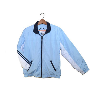 Vintage Bomber Jacket Blue Bomber Jacket 90s Bomber Jacket Blue Windbreaker Jacket Petite Large Jacket