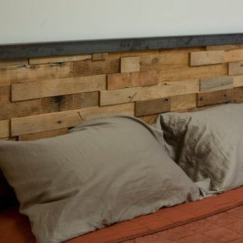 Reclaimed Wood and Iron Steel Headboard by Blakeavenue on Etsy