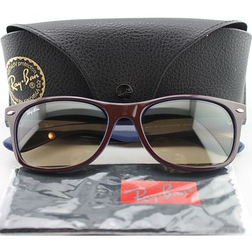Cheap New Ray Ban RB2132 874/51 Wayfarer Brown on Blue Frame Brown Lens Sunglasses outlet