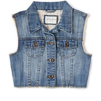 Edgy Girl Cropped Denim Vest (Kids)