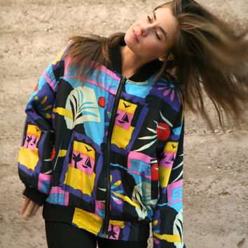silk baroque ABSTRACT vintage 80s 90s SLOUCHY jacket