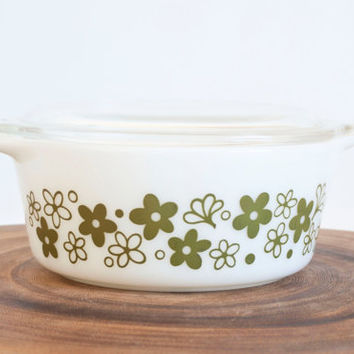 Vintage Pyrex Spring Blossom Round Casserole, Green Flower Crazy Daisy Pattern Baking Dish Storage Container,  #472, 1.5 Pint