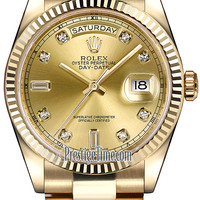 118238 Champagne Diamond President Rolex Day-Date 36mm Yellow Gold Domed Bezel Midsize Watch