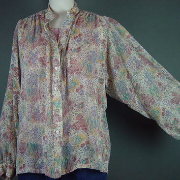 70s Sheer Poet Sleeve Boho Blouse Shirt Top Bohemian Muted Floral Print Button Front Nehru Collar