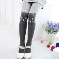 Girls Tights Leggings Cat Elastic Waist cotton knitwear Cute