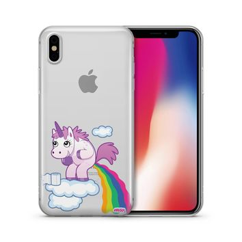 Pooping Unicorn Rainbow - Clear TPU Case Cover
