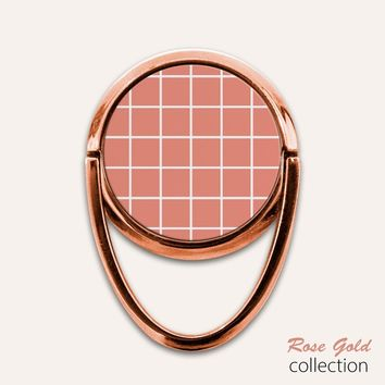 Rose Gold Grid Phone Ring Finger Holder Mount Stand Grips