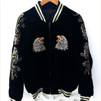 ON SALE Vintage Japan Yokosuka Tiger Dragon Eagle SUKAJAN Emboidered Souvenirs Bomber Jacket