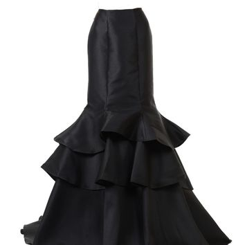 Poly USA SK16 - Black Layered Long Mermaid Skirt Mikado