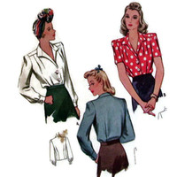 Vintage McCall, Sewing Pattern, Printed, 1940's, Blouse with Long and Short Sleeves, Size 12, Bust 30,Retro Fashion, Glamour