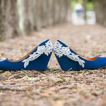 Wedding Heels - Blue Wedges, Wedding Shoes, Low Blue Wedges with Ivory Lace. US Size 7.5