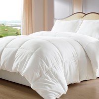 Lightweight Down Alternative Comforter / Duvet Insert - Ideal for Summer, Full/Queen, White