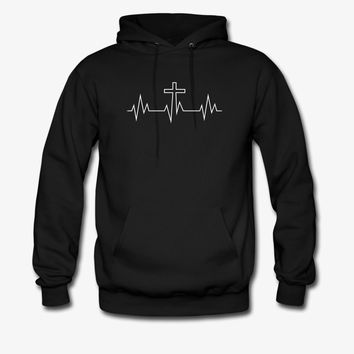 Cross Heartbeat | Christian | Faith | Religious Hoodie | Christian Life Apparel
