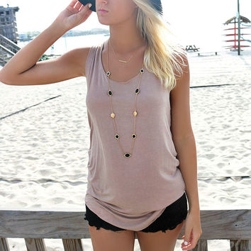 Barbados Light Acid Wash Beige Tank Top