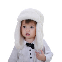Retail baby & kids boys girls fashion cream white faux fur bomber hats children new 2016 winter warm snow casual earflap hats