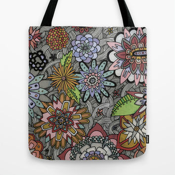 Chalkboard Flowers Tote Bag by Alliedrawsthings | Society6