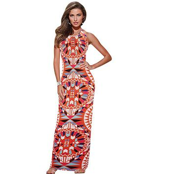Women Summer Maxi Dress  Bodycon Party Dresses Plus Size Printed Vestidos Sexy Sundress Sleeveless Dashiki Boho Long Dress New
