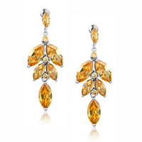 Falling Flower Drop Marquise Cubic Zirconia Earrings (Amber)