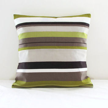 16 inch striped cushion pillow cover in Romo Anoko fabric, lime green, chocolate brown and beige fabric throw pillow, limited edition