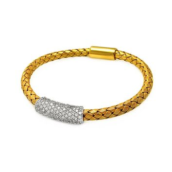 .925 Sterling Silver Rhodium &  Gold Plated Clear Cubic Zirconia Bar Braided Italian Bracelet
