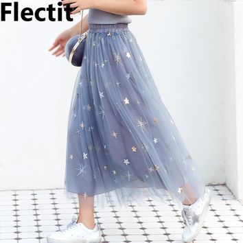 Flectit Women Glitter Sequined Stars Tulle Skirt Women Sheer Mesh Midi Length Tutu Skirt Ladies Skirts