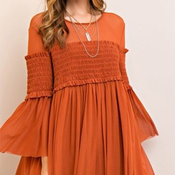 Wild and Free Long Bell Sleeve Scoop Neck Smocked A Line Mini Dress - 3 Colors Available