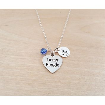 I Love My Beagle Necklace - Dog Owner Necklace - Personalized Initial Necklace - Sterling Silver Necklace - Personalized Gift