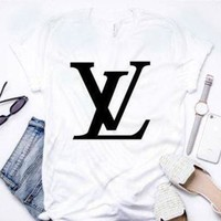 Louis Vuitton LV 2019 Latest Tide Brand Trendy Fashion Printed Letter T-Shirt