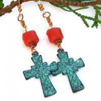 Mykonos Cross Earrings, Turquoise Patina Coral Sand Beads Swarovski Handmade Jewelry for Women