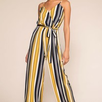 No Delays Stripe Jumpsuit - Honey