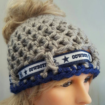 Crochet Cowboys bun hat. Made by Bead Gs on ETSY.  Ladies Size.