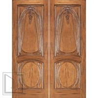 AN-2013-2 Mahogany Hand Carved 2-Panel Art Nouveau Double Door