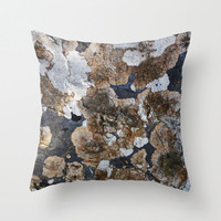 Lichen pillow cover, stone, circles, brown, charcoal grey, taupe, natural, texture, simple, minimal, neutral, Lesvos Greece