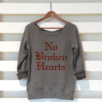 No Broken Hearts - Bebe Rexha - Womens Sponge Fleece Triblend Wide Neck Sweatshirt - Womens Clothing