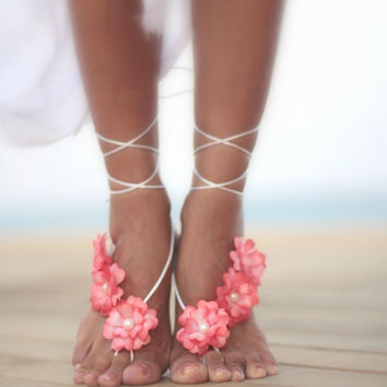 Coral Violet beach wedding barefoot sandal,nude shoes, bridal accessories