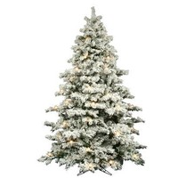 9' Pre-Lit White Flocked Alaskan Tree - Clear Lights