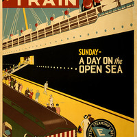 Travel Poster Boat Train Boston And Maine