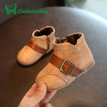 Claladoudou 13.5-15.5CM Baby Girls Fashion Boots Retro Princess Toddler Girls Shoes Kids Genuine Leather Wedding Dress Shoes