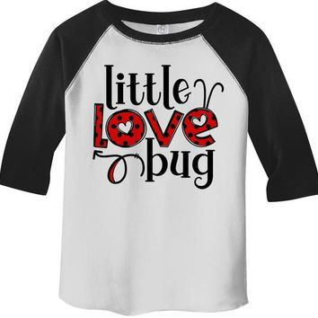 Kids Valentine's Day T Shirt Little Love Bug Shirts Cute Adorable Valentine Tshirt Toddler Tee 3/4 Sleeve Raglan
