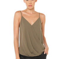 Cross Front Shirt - Khaki
