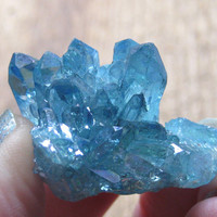 Aqua Aura Gemstone Cluster Mineral Rough Crystal