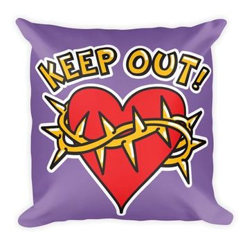 Keep Out! Barbed Wire Heart Pillow