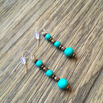 Silver Plated Faux Turquoise Wood Dangle & Drop Earrings