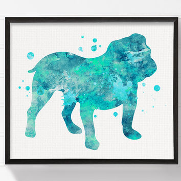 English Bulldog Art, English Bulldog Print, Watercolor English Bulldog, English Bulldog Painting, Watercolor Dog, Dog Wall Art, Dog Poster