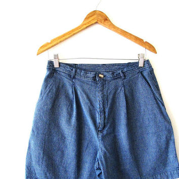 Wms Vintage 1990s St. John's Bay High Waist Railroad Striped Denim Shorts Sz 12