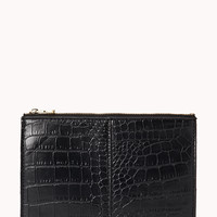 Luxe Croc-Stamped Pouch