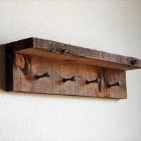"Rustic key rack, key hanger, reclaimed wall hooks, 17"" x 4"" barnwood hanger with 4 pegs"
